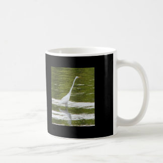 White Heron Fishing Photo Basic White Mug
