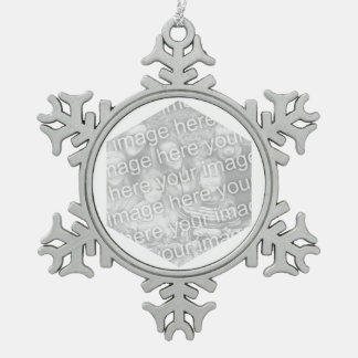 White Hexagon Photo Border Pewter Snowflake Decoration