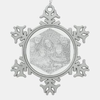 White Hexagon Photo Border Snowflake Pewter Christmas Ornament