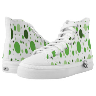 white hi tops green some black dots custom printed shoes