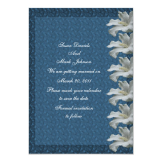 White Hibiscus Flower Blue Wedding Save The Date 13 Cm X 18 Cm Invitation Card