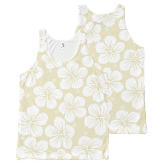 White Hibiscus Flowers All-Over Print Tank Top