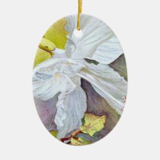 White Hibiscus Pastel Painting Ceramic Oval Decoration