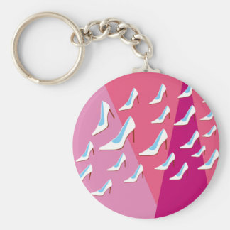 White High Heels & Pink Basic Round Button Key Ring