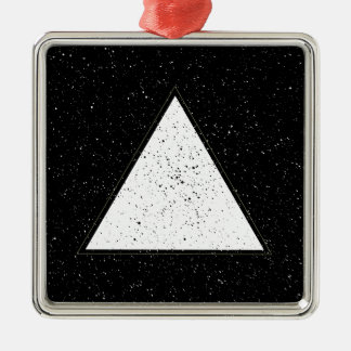 White hipster space triangle black background Silver-Colored square decoration