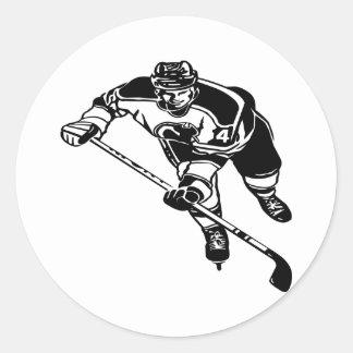 White Hockey Player Classic Round Sticker