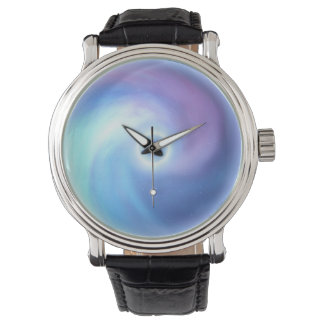 White hole  Black Vintage Leather Watch