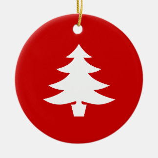 White Holiday Tree on Red Background Ornament