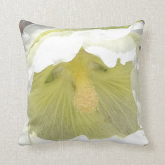 White hollyhock bloom cushion