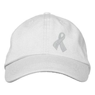 White Hope Cancer Ribbon Awareness Embroidered Baseball Cap