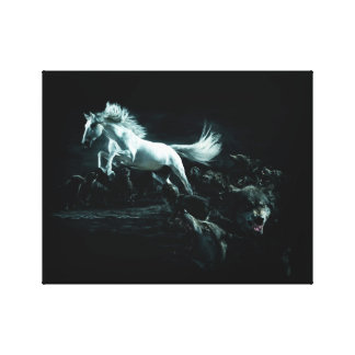 White Horse and The Attack of Wild Wolves Canvas Print