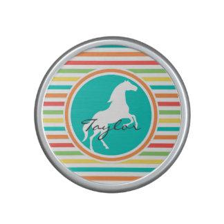 White Horse; Bright Rainbow Stripes Bluetooth Speaker