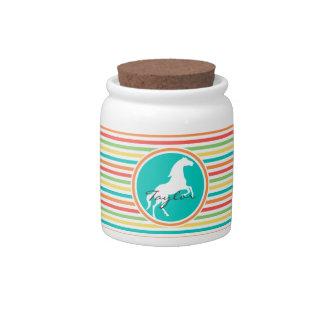 White Horse; Bright Rainbow Stripes Candy Jars