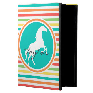 White Horse; Bright Rainbow Stripes iPad Air Cover