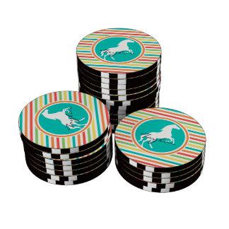 White Horse; Bright Rainbow Stripes Set Of Poker Chips