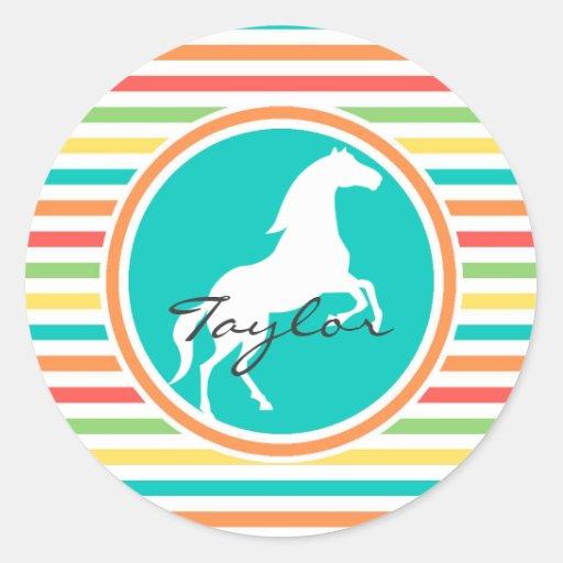 White Horse; Bright Rainbow Stripes Sticker