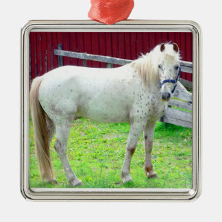 White Horse Silver-Colored Square Decoration