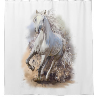 White Horse Gallop Shower Curtain