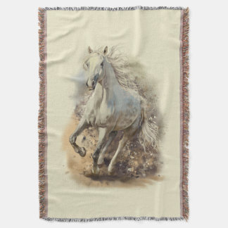White Horse Gallop Throw Blanket