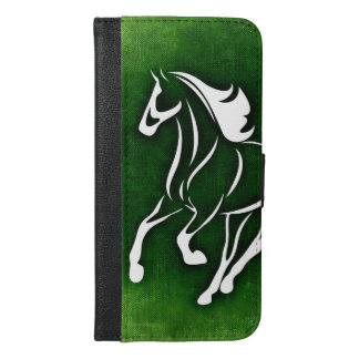 White horse green pattern iPhone 6/6s plus wallet case