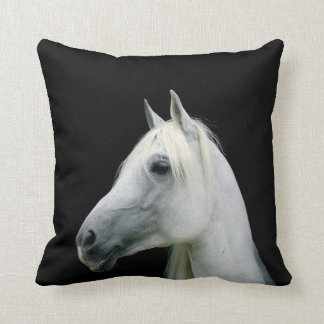 WHITE HORSE HEAD ON BLACK PILLOW CUSHION