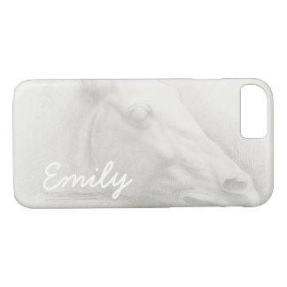 White Horse Head Vintage Drawing Custom Name iPhone 8/7 Case