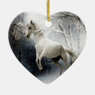 White Horse in Snow Christmas Ornament