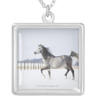white horse in winter silver plated necklace