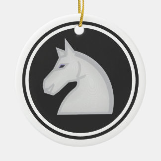 White Horse Knight Chess Round Ceramic Decoration