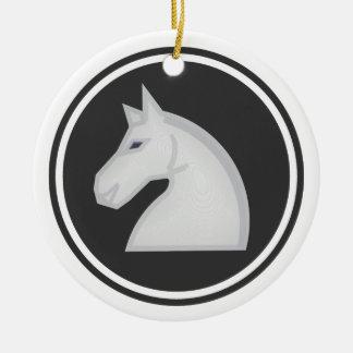 White Horse Knight Chess Round Ceramic Decoration