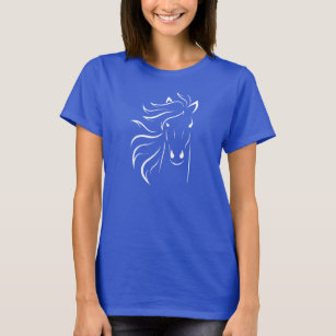 White Horse Line Drawing Art Horses Head T-Shirt