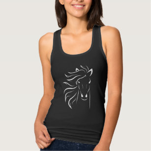 White Horse Line Drawing Art Horses Head Tank Top