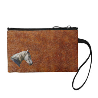 White Horse Logo Leather-look Equine Design Coin Purse
