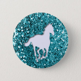 White Horse on Aqua Glitter Look 6 Cm Round Badge