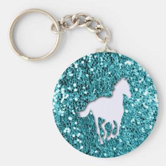White Horse on Aqua Glitter Look Basic Round Button Key Ring
