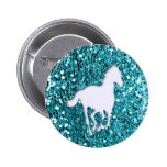 White Horse on Aqua Glitter Look Pinback Buttons