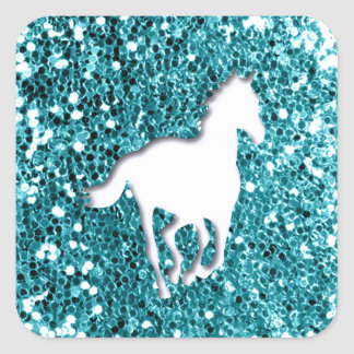 White Horse on Aqua Glitter Look Square Sticker