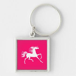 White Horse on Pink Key Ring
