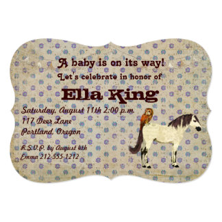 "White Horse & Owl Floral Baby Invitation 5"" X 7"" Invitation Card"