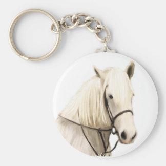 White Horse Painting Keychain
