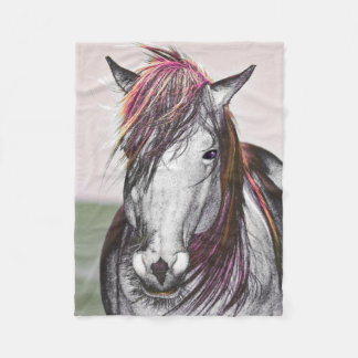 White Horse Pink Hair Art Fleece Blanket