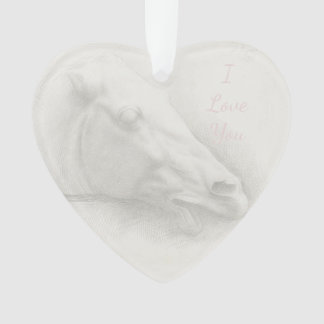 White Horse Portrait Head Vintage Drawing Heart Ornament