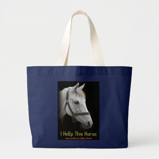 White Horse Portrait on Black Large Tote Bag