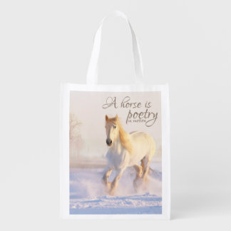 White Horse Quote for Animal Lovers Grocery Bag