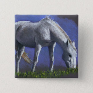 WHITE HORSE: REALISM COLOR PENCIL 15 CM SQUARE BADGE