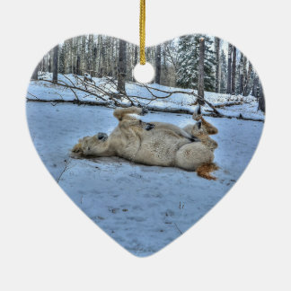 White Horse Rolling in Winter Snow Christmas Ornament