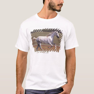 White horse running in field T-Shirt