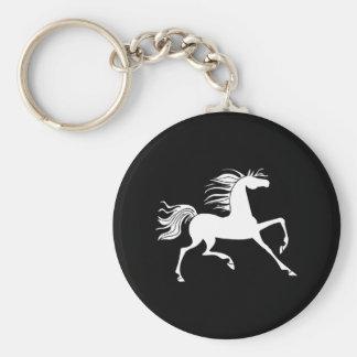 White Horse Silhouette Basic Round Button Key Ring
