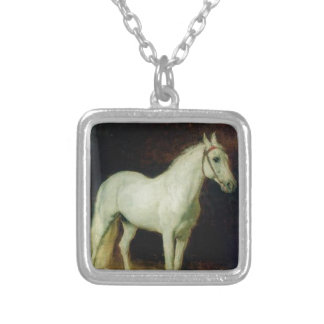White horse. Study. by Alexander Ivanov Square Pendant Necklace