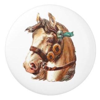White Horse Vintage Victorian animal portrait art Ceramic Knob